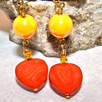 Orange Heart Earrings, Yellow Bead Dangle Earrings, Gold Plated, Summer Jewelry, Happycat2