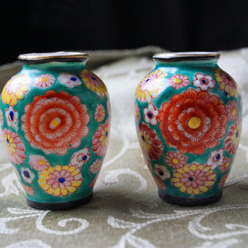1940s Set of 2 Occupied Japan Miniature Floral Vases