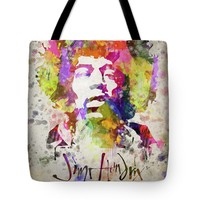 "Jimi Hendrix Portrait Tote Bag for Sale by Aged Pixel (18"" x 18"")"