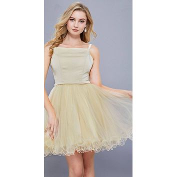 Straight Neck Short Poofy Homecoming Dress Spaghetti Strap Gold