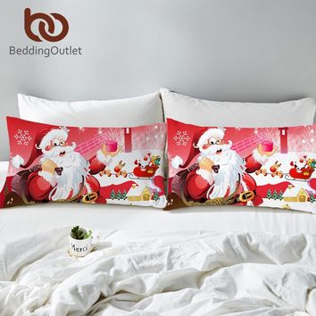 BeddingOutlet Christmas Body Pillowcase Red and White Bed Pillow Cover Santa Claus Pillow Case Home Snowman Bedding 2pcs