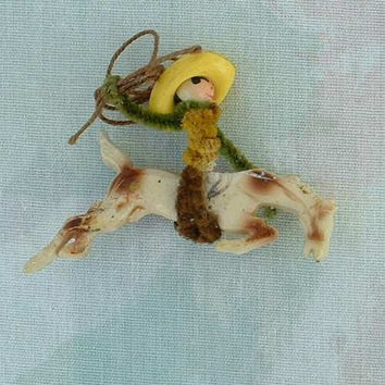 Elzac Maybe Horse Bronco Rider Pin Brooch c1940 Vintage Jewelry