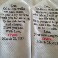 Set of Two Personalized WEDDING HANKIE'S Father of the Bride Father of the groom Gifts Hankerchief - Hankies