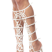 Simplistic Goddess White Gladiator Single Sole Heels