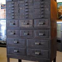 Vintage Industrial Globe Stacking Metal 31 Drawer Card Catalog Storage Cabinet