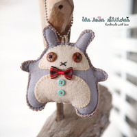 Stitches bunny plush Keychain, handmade with love -  READY TO SHIP