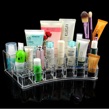 Acrylic Makeup Organizer Transparent Desk Cosmetic makeup Storage Box Lipstick Brush Holder C0606P10