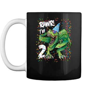 Kids Rawr Im 2 2nd Birthday Dinosaur Shirts Boys Dinosaur Gift Mug