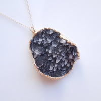 Charcoal Druzy Necklace - OOAK Drusy Jewelry