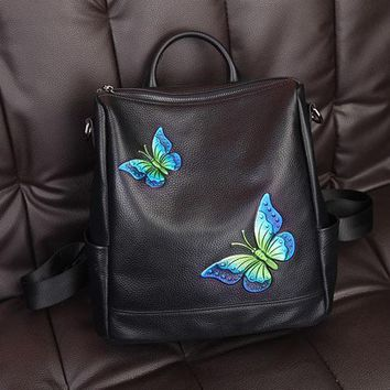 University College Backpack New leather  first layer of leather fashion Korean butterfly embroidery printing  ladies AT_63_4
