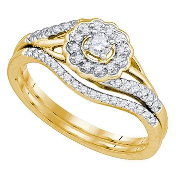 10kt Yellow Gold Women's Round Diamond Flower Floral Bridal Wedding Engagement Ring Band Set 1/4 Cttw - FREE Shipping (US/CAN)