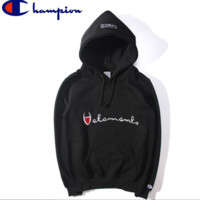 Vetements Hoodies Hooded Sporty Loose Sweater Male and Female Couples Black