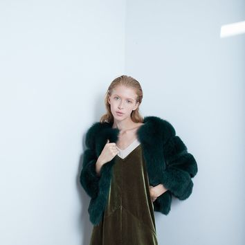 Emerald Green Fox Fur Jacket