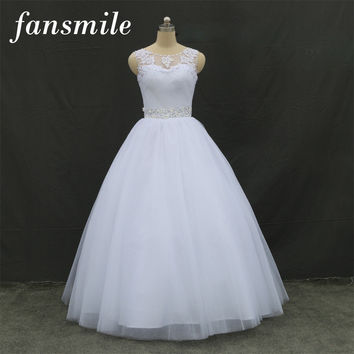 Fansmile 2016 Cheap Double Shoulder Lace Up Ball Wedding Dresses Vintage Plus Size Bridal Dress Wedding Gowns Free Shipping