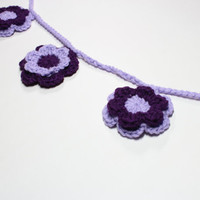 Flower Garland, Crochet Bunting, Spring Party Decoration, Purple and lavender Floral Nursery Wall Hanging, Home Decor, Bridal Shower Decor