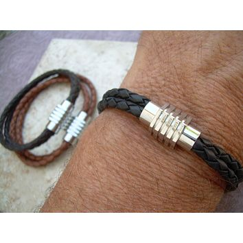Sprocket Style Stainless Steel Magnetic Clasp Double Strand Leather Bracelet with , Mens Bracelet, Mens Jewelry, Mens Gift