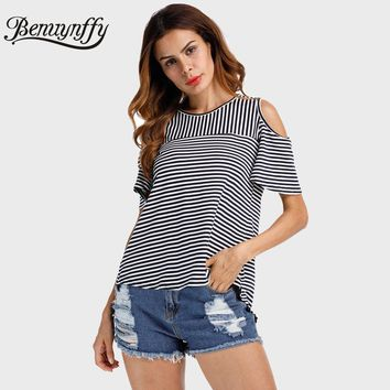Benuynffy Cold Shoulder T Shirt Women Tops Back Split O-Neck Striped Top Tees Female 2017 Short Sleeve Casual Summer T-Shirts