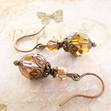 Copper Swarovski Crystal Earrrings - Antique Copper Earrings - Nature Inspired Victorian Tierracast Earrings - Vintage Style Rustic Copper