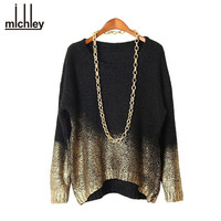 MICHLEY Women Winter Sweater 2015 Woman Clothing Autumn Fashion Pullovers Knitted Black Batwing Gold Gradient Hem Sweater Top236