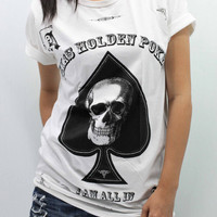 SPADE SKULL T Shirts unisex size M handmade drawing and silk screen printing
