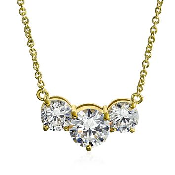 Simple 3.25 CT Three Stone Solitaire CZ Necklace Gold Plated