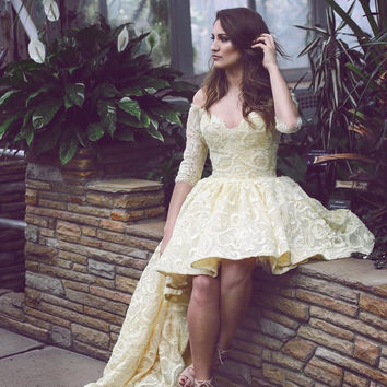 Off Shoulder Lace Long Sleeve Prom Dresses 2016 Sleeveless Cheap High Low Party Gowns Vintage Plus Size Homecoming Dresses EF60