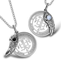 Love Couples Archangel Gabriel Sigils Amulets Set Angel Wings Simulated Onyx Sky Blue Cats Eye Necklaces