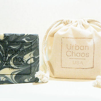 Charcoal Soap Set of 2, Activated Charcoal, Organic Olive Oil & Oatmeal for Sensitive Skin, Dry Skin - Natural Unscented Nut Free Vegan Soap