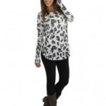 White Animal Print Top