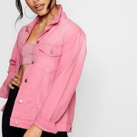 Amy Dusky Pink Distressed Denim Boyfriend Jacket | Boohoo