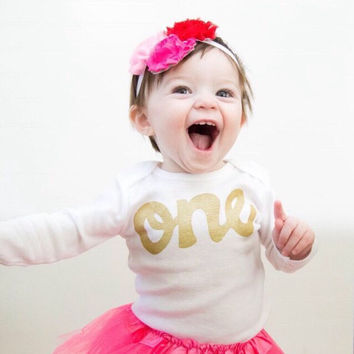 Fan Photo Watermelon pink tutu with long sleeve gold glitter one Onesuit- girls 1st Birthday outfit Valentine's Day girls first birthday outfit.
