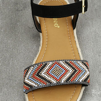 Deianira Black Beaded Espadrille Flat Sandals