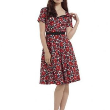 POPPY FLORAL HOLLY PRINT FLARE DRESS