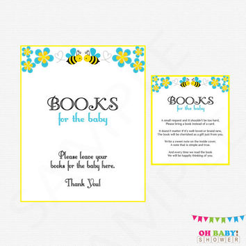 Bee Baby Shower, Book Request, Bumble Bee Baby Shower, Bring a book instead of a Card, Books for Baby, Honey Bee Baby Shower Printable, BB01