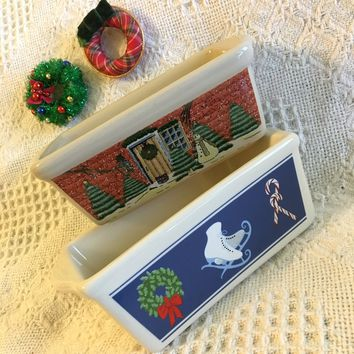 Christmas Mini Loaf Pans Vintage Nantucket Ceramic Stoneware Bread Cake Pastry Baking Dishes With Winter Scenes Set of 2 Home Trees Wreath