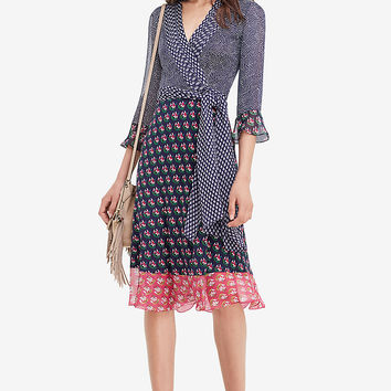 DVF Nieves Silk and Chiffon Combo Wrap Dress