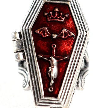 Vampire Coffin Locket Cocktail Ring Antique Gothic RB43 Silver Tone Casket