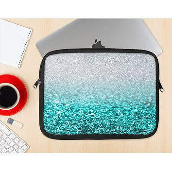The Tiffany Blue & Silver Glimmer Fade Ink-Fuzed NeoPrene MacBook Laptop Sleeve