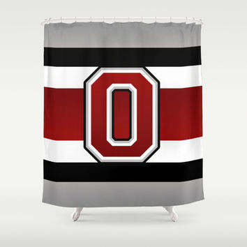 Ohio State Glove Stripe Shower Curtain by Timothy Davis