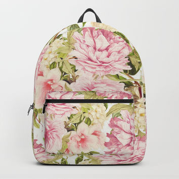 vintage peonies and hydrangeas Backpack by sylviacookphotography