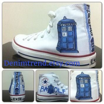 Doctor Who Shoes Tardis Shoes Converse by denimtrend on Etsy
