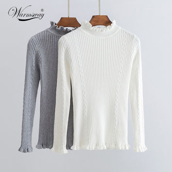 Solid Women Sweater Pullover Ruffles Turtleneck Waves Slim Autumn Winter Long Sleeve Jumper Casual Sweater Tricot Knitted WS-149