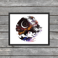 Death Star Poster Death Star Print Death Star Art Darth Outline Star Wars Art Star Wars Print Outer Space Art Galaxy Art Nebula Art Download