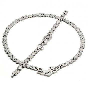 Stainless Steel Necklace and Bracelet, Hugs and Kisses and Love Design, Steel Tone