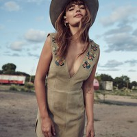 AM x UL Embroidered Suede Dust Mini Dress