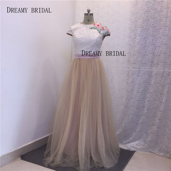 Real Photos Lace Sequined Evening Dresses O Neck Luxury Beading Vestido De Festa Pleated Chiffon Fabric Formal Gowns