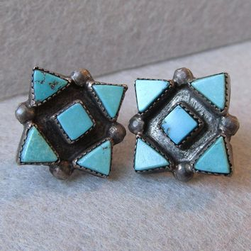 Early Native American Zuni Sterling Silver & Triangular Turquoise Petit Point Screw Back Vintage Earrings