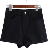 Black High Waist Flange Denim Shorts