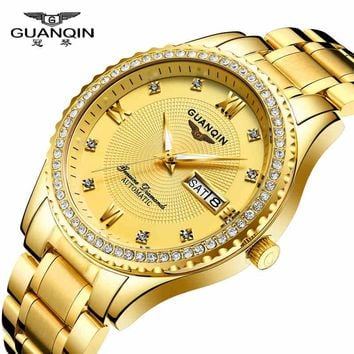 2017 New Luxury Business Watch Top Brand GuanQin Auto Mechanical Watch Men Watches Calendar Week Sapphire Waterproof full steel