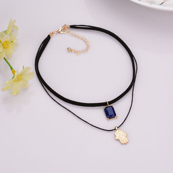 2016 New Trend Black Leather Choker Necklace 2 strands Wrap Gold Hamsa with Blue Crystal Stone Charm Pendant Necklace Women Girl